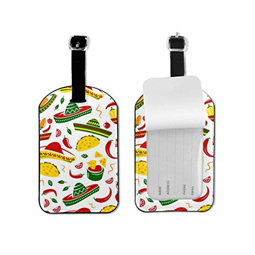 Luggage Tags 2 Pieces Set,Cuisine Sombrero Chili Jalapeno Pepper Mexican Food Tacos Burrito Flexible Travel ID Identification Labels for Bags & Baggage