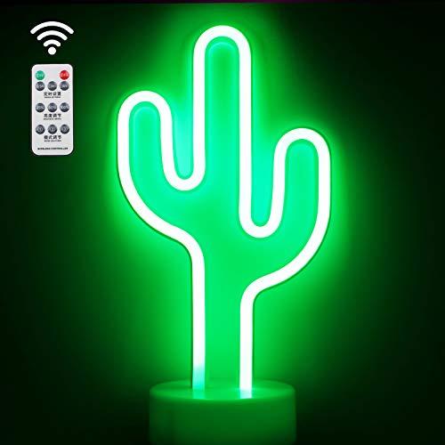 XIYUNTE Cactus Luz de neón con Control remoto - Letreros de neón LED Iluminación de Navidad de interior, Luces nocturnas con base de soporte para decoración de habitaciones de niños, Navidad
