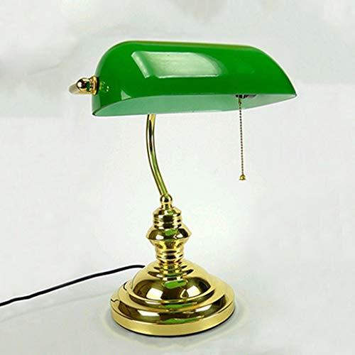 Lfixhssf Klassieke bureaulamp met groene glazen bank schaduw ijzer trekschakelaar E27 Desk Light Lfixhssf