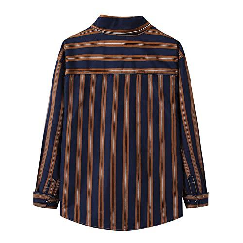 D-Rings Camisa para hombre, corte ajustado, diseño básico, manga larga, camisa para hombre, azul marino, XL