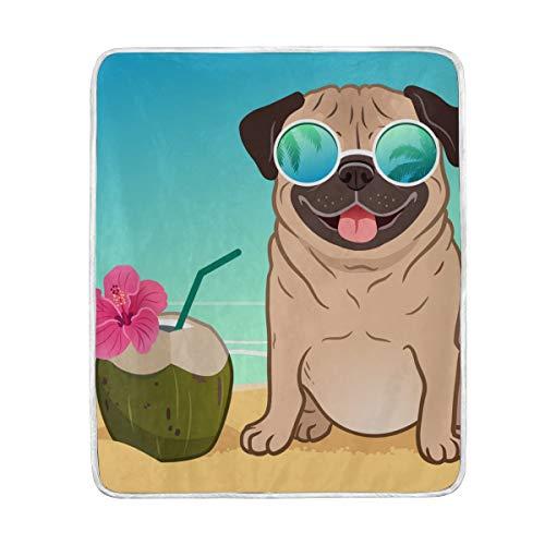 My Daily Manta de playa de verano para perro de carlino de microfibra de poliéster para sofá de cama de 127 x 152 cm