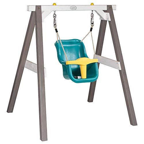 Beauty.Scouts Babyschaukel Arian mit Sitz aus Hemlock-Holz in grau-weiß 103x120x134cm Schaukel-Gestell Einzelschaukel Kinderspiel Spiel robust langlebig modern