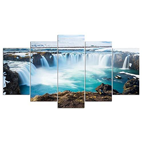 LJLLINGS Toile Décor À La Maison HD Impressions Affiche 5 Pièces Islande Peintures Godafoss Cascade Paysage Photos Modulaire Mur Art Cadre