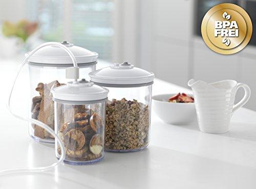 Food Saver V2860 - Envasadora al vacío, 2 tipos de envasado, 3 velocidades, color negro y plata + FSC003-I-065 - Set de 3 tarros de envasado al vacío