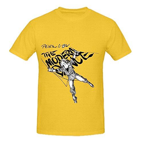 Camiseta de sol Pere Ubu La danza moderna Electronica hombres cuello redondo impreso camisa, L, Amarillo