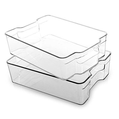 BINO Organizador de plástico apilable, grande – 2 unidades – organizador de despensa y almacenamiento organizador de refrigerador, organizador de refrigerador, organizador de congelador, despensa organizador de almacenamiento