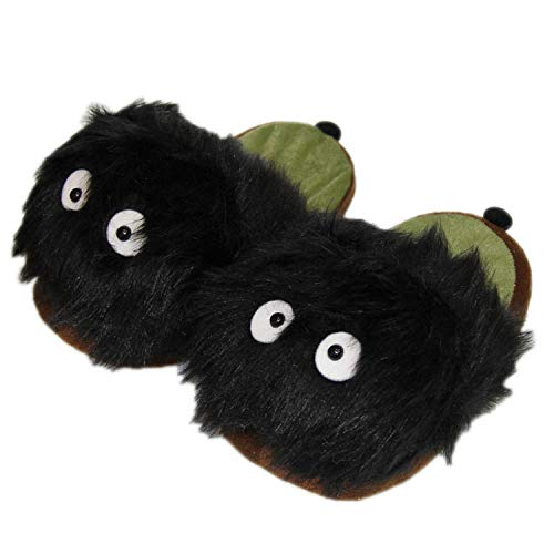 SHOESESTA Zapatillas de Estar por Casa Hayao Miyazaki My Neighbor Totoro Pantuflas Felpa Invierno Mujer Anime Japonés Muñeco Chirriante Carbón Negro Piso Interior Abrigado Zapatos Algodón-Black_36-42