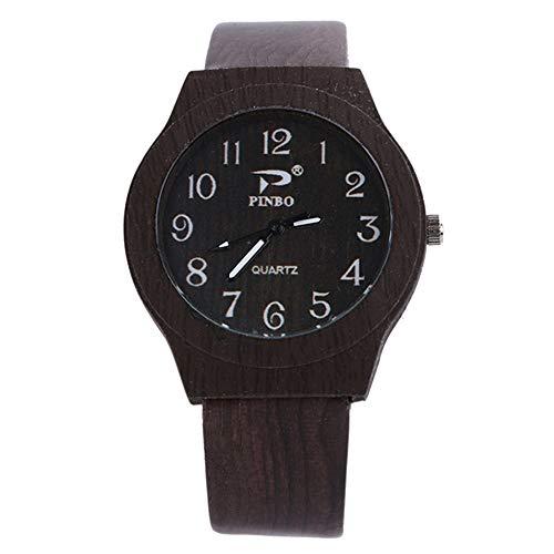 Reloj de Cuarzo para Hombre con números arábigos, Esfera Redonda, Correa de imitación de Madera y Cuarzo