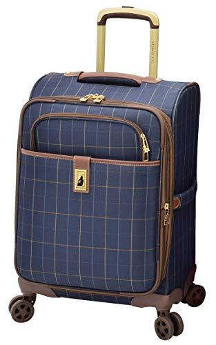 LONDON FOG Kensington II Softside Expandable Spinner Luggage, Navy Window Pane, Carry-On 20-Inch