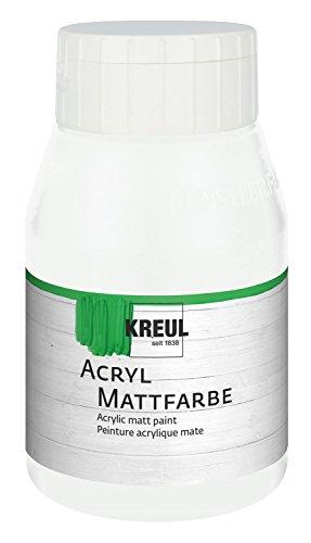 Kreul 75901 - Acryl Mattfarbe, cremig deckende, schnelltrocknende Farbe auf Wasserbasis, für viele verschiedene Untergründe geeignet, 500 ml Kunststofffasche, weiß