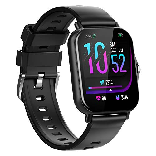 QFSLR Smartwatch Reloj Inteligente con Monitor De Frecuencia Cardíaca Monitor De Presión Arterial Monitoreo De Oxígeno En Sangre Smart Watch Reloj Deportivo para Android iOS,Negro