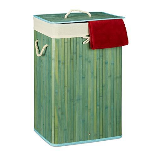Relaxdays,Cesto de ropa de bambú Relaxdays, con tapa, rectangular, XL, 83 L, colector de ropa plegable, HWD: 65.5 x 43.5 x 33.5 cm, azul