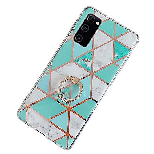 Kompatibel mit Samsung Galaxy S20 FE 5G Hülle,Glänzend Bling Glitzer Marmor Design Muster Schutzhülle mit 360 Ring Ständer Ultra Dünn Weiches TPU Silikon Gel Bumper Handyhülle Hülle Case,#2