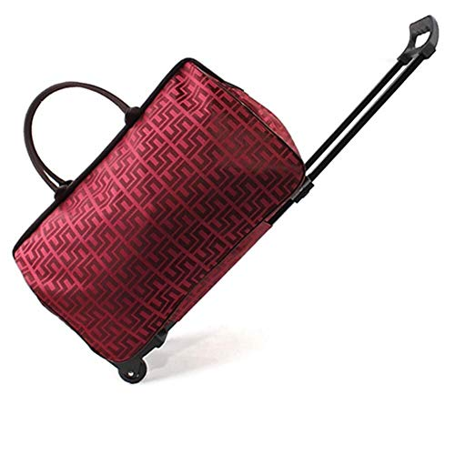 Trolley - cabin suitcase luggage suitcase travel portable travel bag large capacity, lightweight fabric (Color : Red Grid, Size : 51.5 * 23.5 * 34)