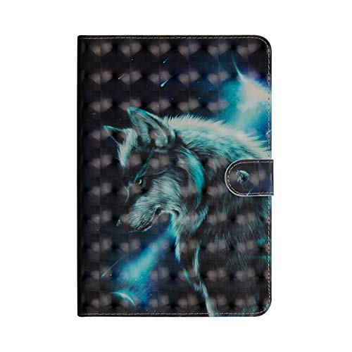 KimsCase for Apple iPad 9.7 Inch 2017 2018 Case Leather Magnetic Notebook Design Protective Pretty Cute 3D Glitter Bling Kawaii Dustproof Shockproof Bumper Funny Cover - Wolf
