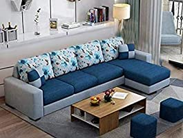 Casaliving Rolando Wood 6 Seater L Shape Sofa for Living Room with 2 Puffy - Right Side Sofa (Blue Grey)