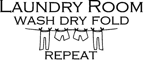 LAUNDRY ROOM WASH DRY FOLD REPEAT VINYL WALL DECAL HOME DECOR QUOTE SAYING WALL LETTERS