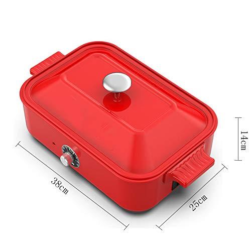 BTSSA Elektropfanne,Multifunktionstopf Kochtopf, Frühstückstopf, Kreativtopf für Kinder,Enthält 5 Multifunktions-Backbleche,Red