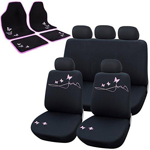 WOLTU AS7304+7141 Schonbezug Schonbezüge für PKW Auto Teppich Matten Stoff schwarz