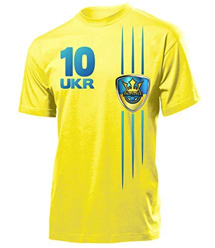Ukraine ??????? Fan t Shirt Artikel 4298 Fuss Ball EM 2020 WM 2022 Team Trikot Look Flagge Fahne Jersey World Cup Männer Herren Jungen L