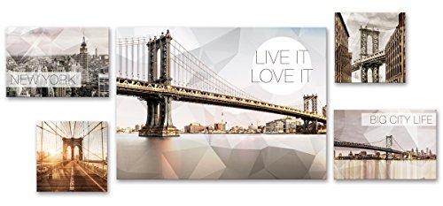 Eurographics - Lienzo decorativo (5 piezas, diferentes tamaños), diseño de Nueva York
