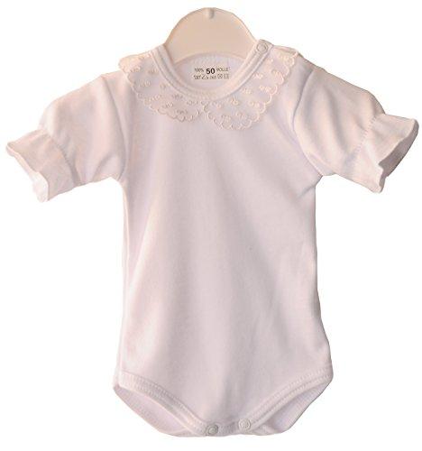 La Bortini Baby Body mit festlichem Kragen Weiß festlich Taufe (62)