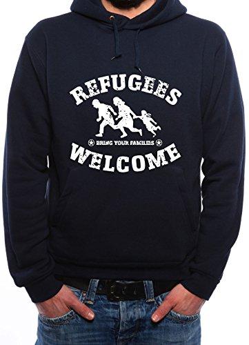 Mister Merchandise Herren Hoodie Kapuzenpullover Refugees Welcome - Bring Your Families Flüchtlinge Flüchtling, Größe: S, Farbe: Navy