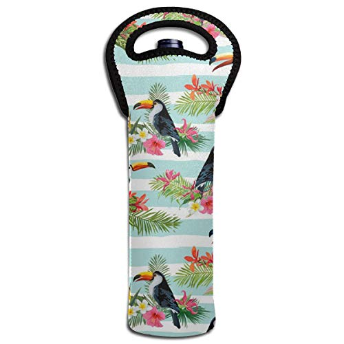 Tropical Flowers and Toucan Birds Wine Carrier Tote Bag Portable Wine Tote Holders and Carriers Insulated Bag Wine Bottle Protector for Home Travel and Picnic