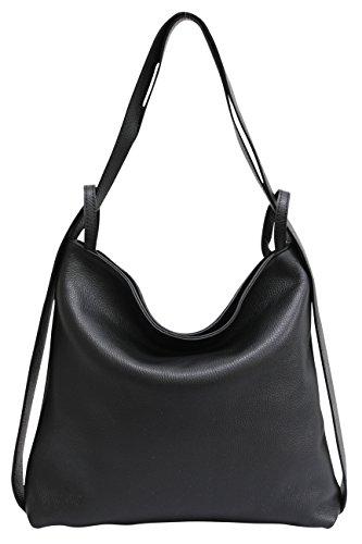 AmbraModa Italienische Ledertasche, Damen handtasche rucksack 2 in 1 Damenrucksack Daypack Schultertasche Damen Handtasche Beutel GL019, Schwarz, XL