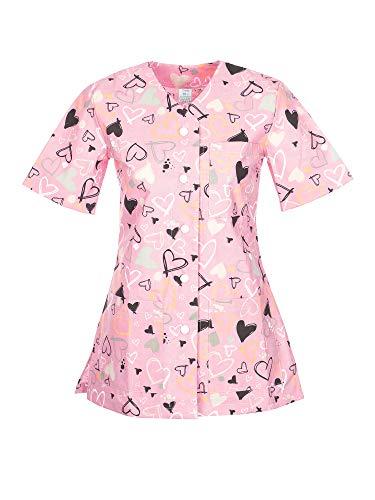 DINOZAVR Carla Sanitario Camisa Médica con Botones a presión y Cuello en V para Mujeres Rosa/Corazones S