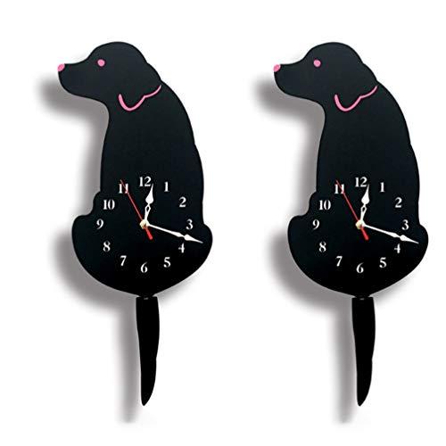 LIOOBO Reloj práctico Decorativo Creativo de Dibujos Animados Reloj de Pared patrón de Perro acrílico Soporte Reloj para Dormitorio