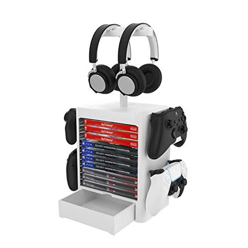 RIXOW Supporto di Immagazzinaggio Multifunzione per Giochi, 10 Rack per Dischi di Gioco con Cassetto, Supporto Verticale per Controller per Cuffie Compatibile con PS5 PS4 Xbox Series, Grigio Chiaro