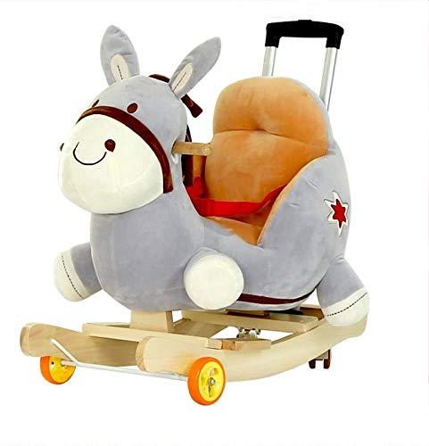 Rocking horse GCX Rockers Ride-ons Baby Wooden 2 In 1 Dual Use With Wheels For Kid Child Boys And Girls Rocker Seat Cute Plush Animal Music smooth (Color : Yellow)