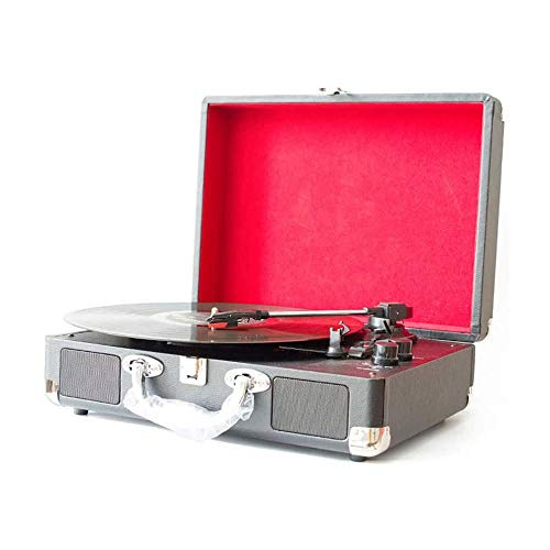 ZOUJIANGTAO Vinyl Record Player, Belt-Driven Turntable with 3-Speed, Built-in Speaker, Aux in and RCA Output, Retro Wood Record Player Vintage Phonograph