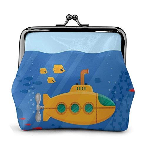 JHGFG Gelb U-Boot Periskop Fisch Koralle Seetang Ozean Pu Leder Exquisite Schnalle Münze Geldbörsen Vintage Beutel Klassische Kiss-Lock Wechselgeldbörse Geldbörsen Geschenk