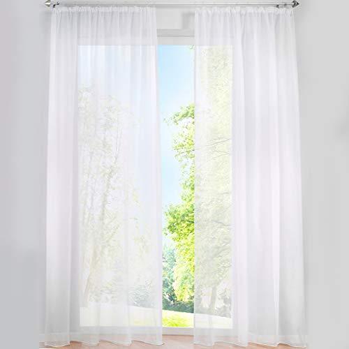 SIMPVALE 2 Paneles Cortinas Visillos de Gasa con Ganchos de riel para Dormitorio Habitación Sala de Estar Balcón, Blanco, 140x175cm