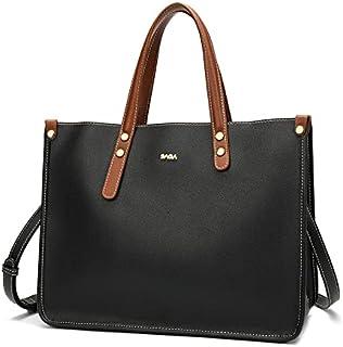 حقيبة نسائية من الجلد بتصميم كلاسيكي وبسيط من SAGA - سوداء