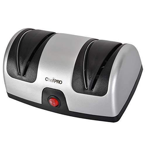 ELECTRIC KITCHEN KNIFE SHARPENER AND POLISHING SYSTEM by CHEF PRO, 2-Stage Sharpening, Compact And Easy-to-Use Design, Suction Cup Bottom and Easy Cleaning, Black-Silver