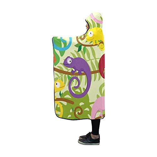 LONGYUU Manta con Capucha Manta de Camaleones de Colores Divertidos Lindos Envoltura con Capucha cmoda de 60x50 Pulgadas