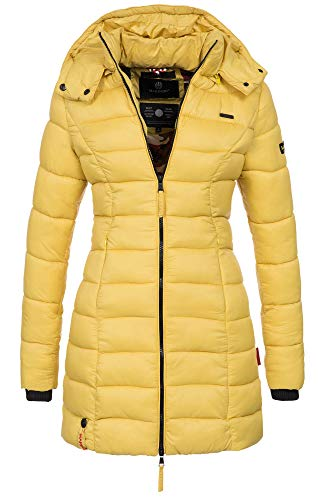 Marikoo Herbst Winter Übergangs Steppmantel Jacke Mantel gesteppt B603 (Gr.S/Gr.36, Lemon)