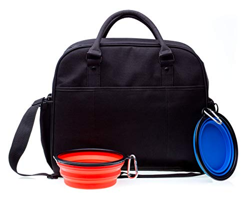 JSD WORKS Dog Travel Bag - Premium Tote Bag for Dog Accessories - Includes 2 Large Dog Bowls for Dog Food and Water. Serves as Perfect Luggage Set for Your Pet's Travel Accessories