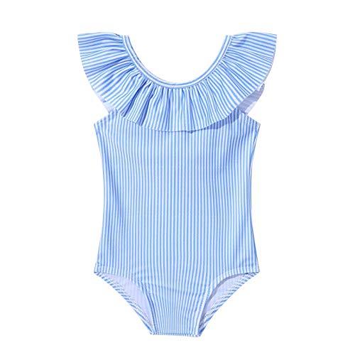 YOOJIA Traje de Baño Infantil para Bebé Niñas Bañador de Una Pieza sin Mangas Dobladillo con Volantes para Princesa Traje para Playa con Lazo Azul 0-3 Meses