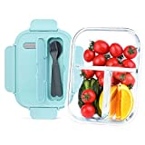 Giwrmu Glass Storage Containers,3 Compartment Glass Lunch Containers With Lids,1060ML Blue Glass Containers For Food, Glass Meal Prep Containers,Microwave Oven/Freezing,Visible Health