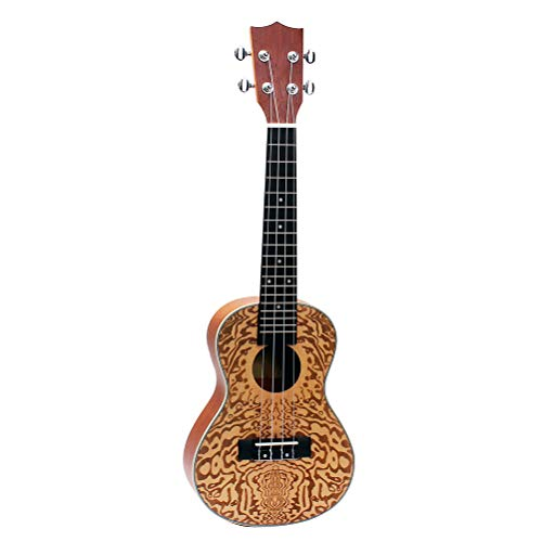 SUPVOX 24 Pulgadas Ukulele Mini Musical Guitarra Vintage Madera de Abeto Estampado de flores Tocar Soprano Instrumento de Arranque para Educación Infantil Juguete Principiantes