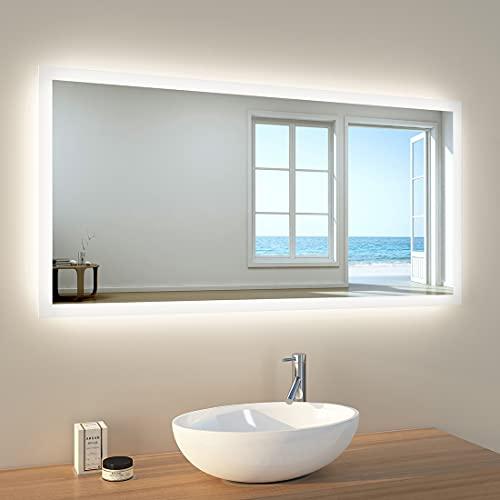 EMKE Wandspiegel Badspiegel 120x60cm LED Badezimmerspiegel Beschlagfrei IP44 Energiesparend