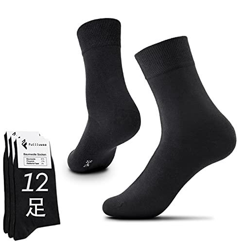 靴下 メンズ ビジネスソックス 12足 綿 通気抜群 四季適用 プレゼント(ブラック×12, L(25cm-27cm))