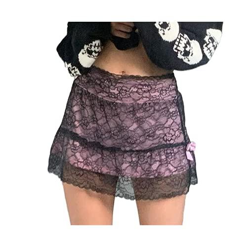 N\P Falda gótica de malla de flores para mujer de doble capa con cordones mini falda oscura