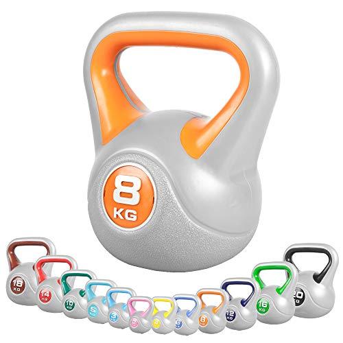 GORILLA SPORTS® Kettlebell Stylish 2-20 kg Kunststoff – Fitness-Kugelhantel 8 kg