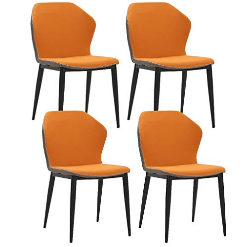 SYN-GUGAI Dining Side Chair Set Of 1/2/4 Leather Seat Pad Kitchen Dining Room Chairs Curved Back & Sturdy Metal Legs, Mid Century Modern Accent Chairs For Patio Living Room Lounge
