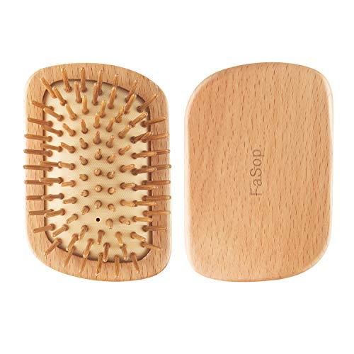 Tragbare Buchenholz Mini Antistatische Haarbürste, FaSop. Portabler Detangling Styler mit Luftkissen, Entwirrungsbürste to go - Perfekt für die Handtasche, Geeignet für lange und dünne Haare
